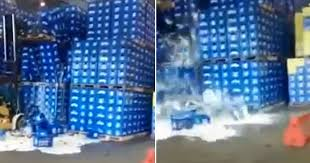 how much does a pallet of bud light cost watch calamitous moment forklift driver caused giant beer spillage