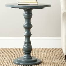 Teal Accent Table Cross Side Table Pedestal Side Table Oak Finish Wood Material