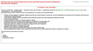 Sample Resume For Air Conditioning Technician by Air Conditioning Mechanic Work Experience Letters