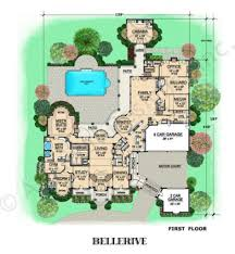 House Plans Courtyard Bellerive Texas Style House Mansion House Plan