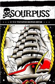 Sourpuss Shower Curtain Nautical Sourpuss Clothing Wholesale