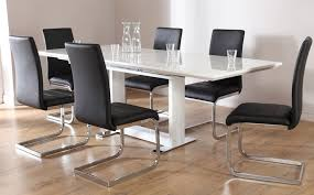 Tokyo White High Gloss Extending Dining Table And  Chairs Set - White and black dining table