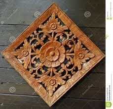 flower carving on wooden wall stock image image 26847045