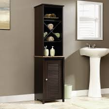 amazon com sauder linen tower bath cabinet cinnamon cherry