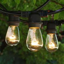 100 ft black commercial medium string light with 11s14 clear bulbs