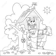 children playing in tree house coloring cartoon illustration