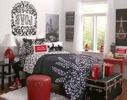 bedroom ideas red black and white gray fur rug minimalist silk