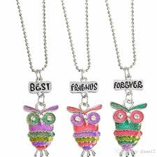 owl necklace rose gold images Wholesale best friends forever bff pendant charm beaded chain jpg