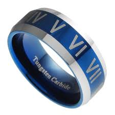 ring size mens 8mm tungsten carbide mens blue numeral mens wedding band
