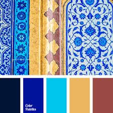 brick red bright blue bright shades of dark blue brown brown