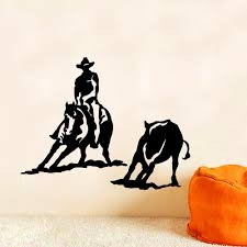compare prices on 3d wall stickers cowboy online shopping buy low zuczug black pvc wall stickers equestrian wild west cowboy mustang 3d removable wall decals home decor