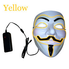 Guy Fawkes Mask Halloween by El Wire Light Up Led Guy Fawkes Costume Cosplay Mask Halloween