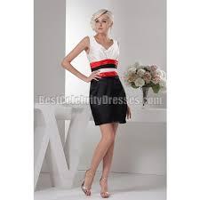 mini white black and red v neck graduation homecoming dress