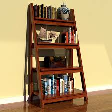 decorating brown wooden ladder bookshelf on wooden floor matched