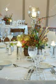 formal table setting at an event party or wedding reception stock
