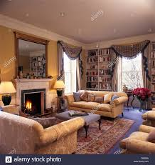 Tartan Chesterfield Sofa by Shelves On Either Side Fireplace Stock Photos U0026 Shelves On Either