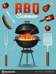 cuisiner avec une bouilloire les éléments de gril barbecue valeur isolée sur fond affiche