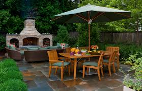 corner outdoor fireplace patio traditional with patio furniture