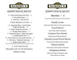 martini bar menu menu murphy u0027s irish bar and grill yorktown heights ny