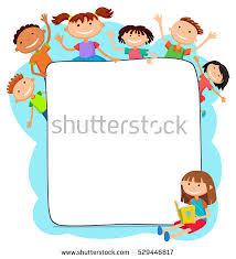 illustration kids peeping behind placard children stock