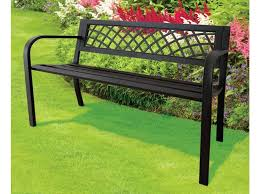 express trading black 3 seater metal garden outdoor lattice back