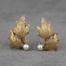design of earrings vintage oak leaf design pearl earrings