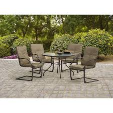 5 piece patio table and chairs mainstays spring creek 5 piece patio dining set seats 4 walmart com