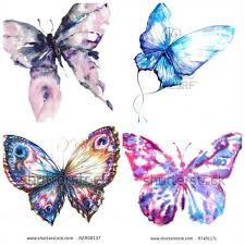 collection of 25 watercolor butterfly tattoos