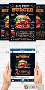 burger restaurant flyer template instagram size flyer free