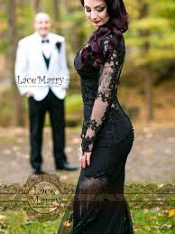 black lace wedding dress with sheer open back and long
