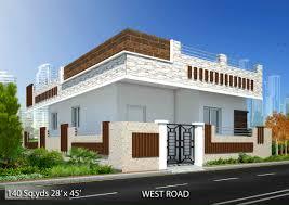 way2nirman 140 sq yds 28x45 sq ft west face house 2bhk elevation
