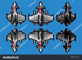 pixel art space ship animation set stock vector 258965588