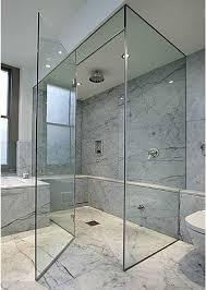 Glass Shower Door Frameless Frameless Glass Shower Door With Marble Tiles Bathroom Glass