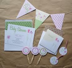 flower garden whimsy printable baby shower invitation template kit