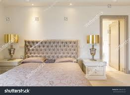 elegant master bedroom double bed quilted stock photo 539647135