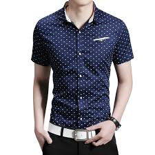 wholesale 2016 new fashion casual men shirt short sleeve polka dot