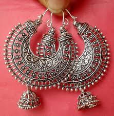 indian metal necklace images Vintage ethnic south jewelry silver tone oxidized indian earrings jpg