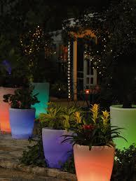 flower pot solar light illuminated planter tall
