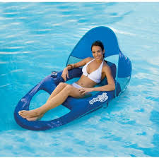 Summer Lounge Chairs Swimming Pool Water Float Raft Recliner Lounge Chair Canopy Sun