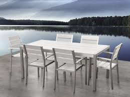 Aluminum Patio Dining Set Aluminum Patio Dining Set White Vernio Beliani