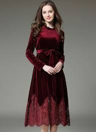 velvet dress fashion sleeve lace velvet dress with belt oasap