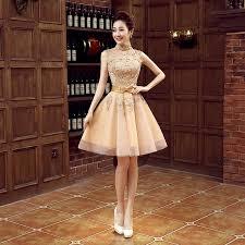gold cocktail party 2016 spring married bridal dress short design