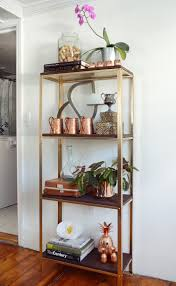 ikea shelf hack ikea hack a utilitarian shelf goes rustic glam curbly