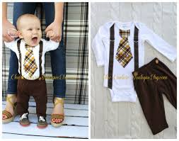 baby boy tie and suspenders bodysuit w personalization chocolate