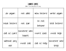prefix suffix bingo teacherlingo com