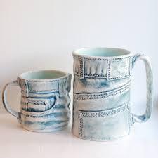denim jeans mug ceramic mug ceramics and pottery