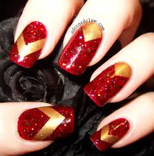 chevron tape nail art tutorial gold and red chevrons the adorned claw