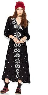 Free People Three Quarter Sleeve Embroidered Maxi Dress Where To