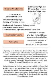 christmas schedule for st michan u0027s parish halston street