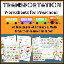 free transportation themed worksheets for preschool the measured